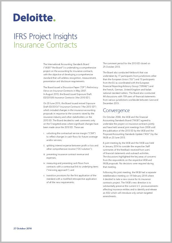 IFRS Project Insights — Versicherungsverträge