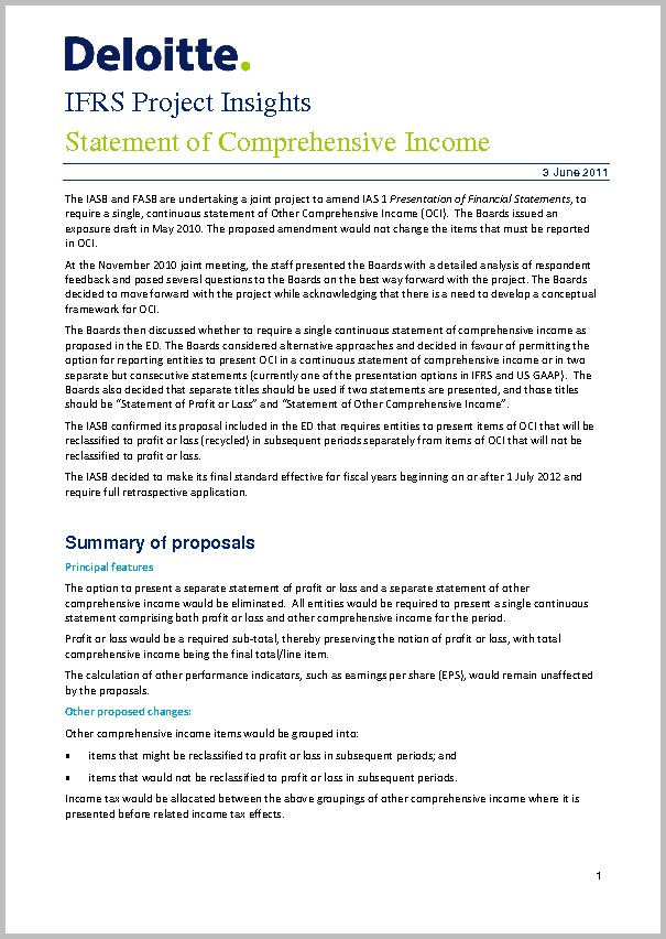 IFRS Project Insights Financial Statement Presentation Of Comprehensive Income