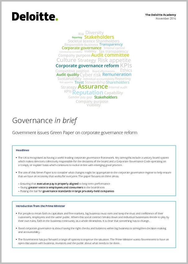 Governance in brief — Government issues Green Paper on corporate