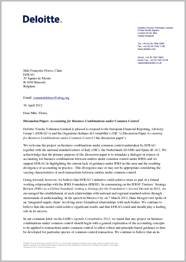 Deloitte Comment Letter On Discussion Paper On Business Combinations Under Common Control If you have any questions please contact the publisher: comment letter on discussion paper