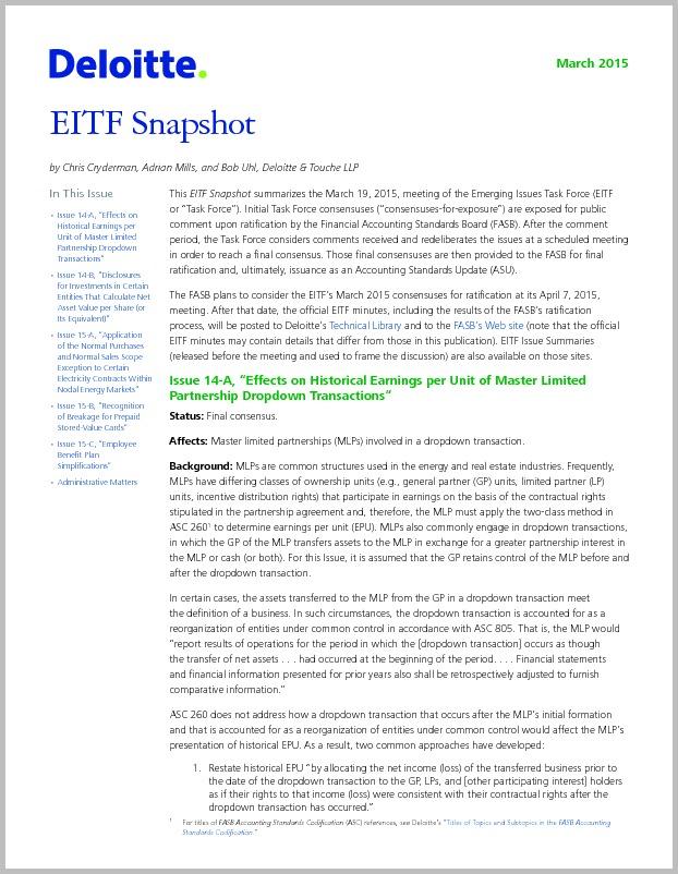 EITF Snapshot — March 2015